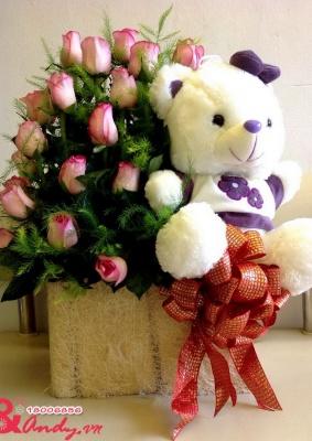 Hoa và Gấu tặng người yêu