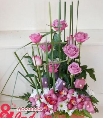Hoa để bàn –hồng ngọt ngào