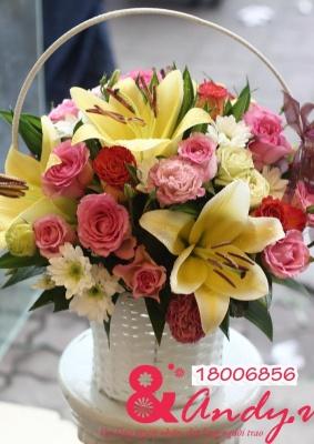 Giỏ hoa ly - hồng