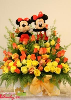 Giỏ hoa hồng sắc màu