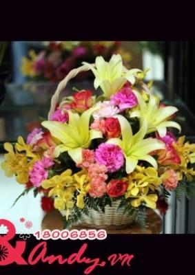 Giỏ hoa sắc màu đẹp