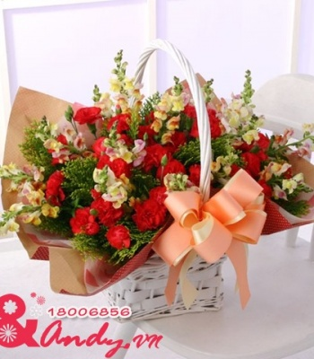 Giỏ hoa phi yến đẹp