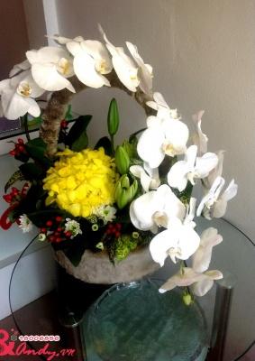 Giỏ hoa vòng tròn yêu thương