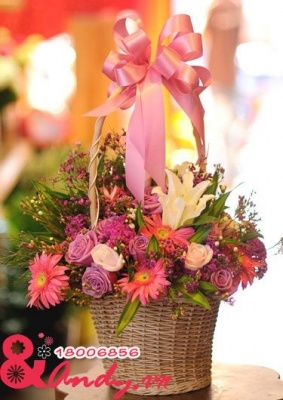 Giỏ hoa Hồng Tím