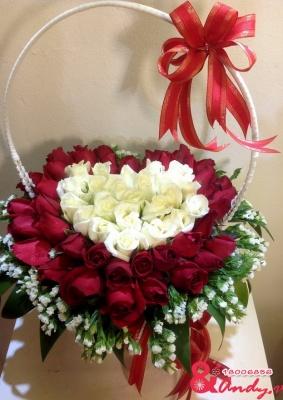 Giỏ hồng trái tim