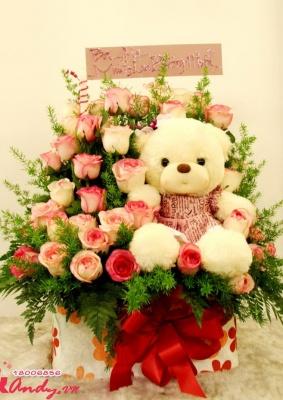 Hoa hồng và gấu – đáng yêu