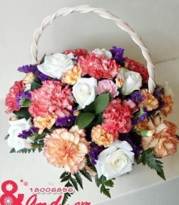 Giỏ hoa cẩm chướng đẹp