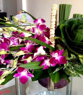 Giỏ hoa lan thái màu tím