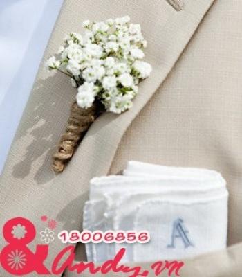 Hoa cưới cài áo: 123481